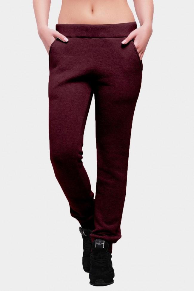 Утепленные штаны из трехнитки с карманами. Цвет: марсала