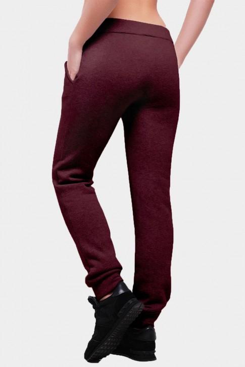 Утепленные штаны из трехнитки с карманами. Цвет: марсала (фото 2)