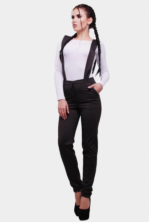 Утепленные женские брюки с широкими подтяжками. Цвет: коричневый (фото 2)