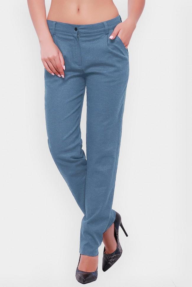 Женские брюки джинсового цвета из льна. SHT-1513B