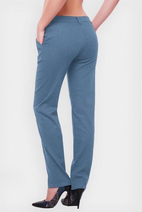 Женские брюки джинсового цвета из льна. SHT-1513B (фото 2)