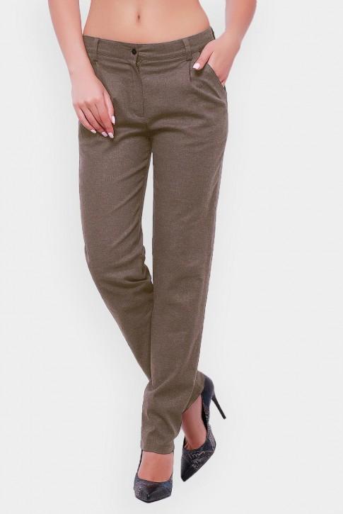 Женские брюки из льна светло-коричневые