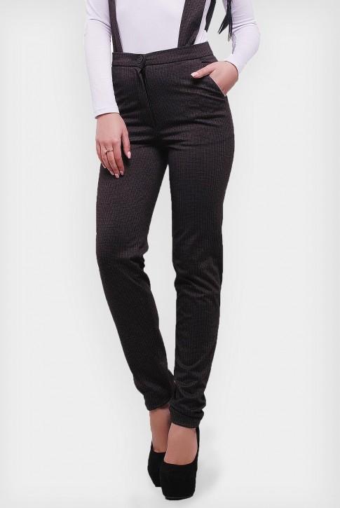 Утепленные женские брюки с широкими подтяжками. Цвет: коричневый