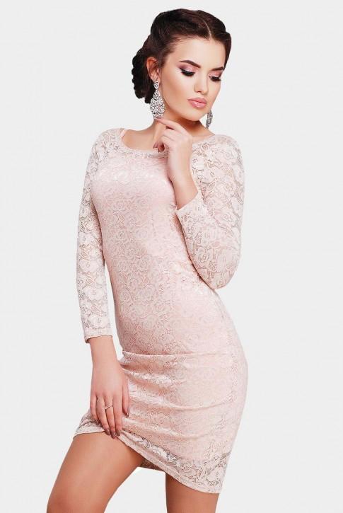 Нарядные гипюровые платья цвета пудра
