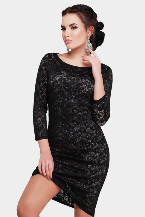 Коктейльное черное платье из гипюра