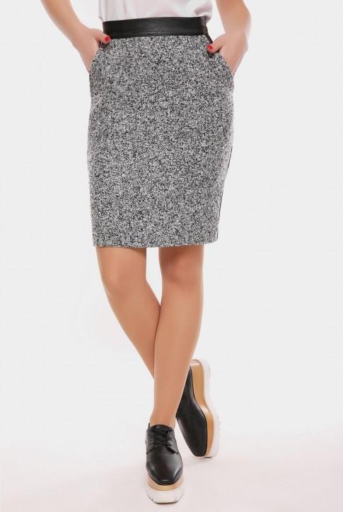 Меланжевая юбка из твида и экокожи