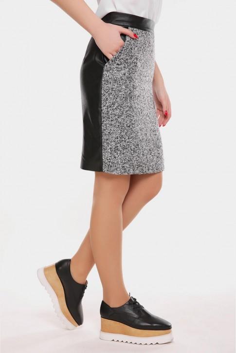 Меланжевая юбка из твида и экокожи (фото 2)