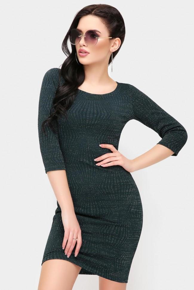 Блестящее платье темно-зеленого цвета с люрексом