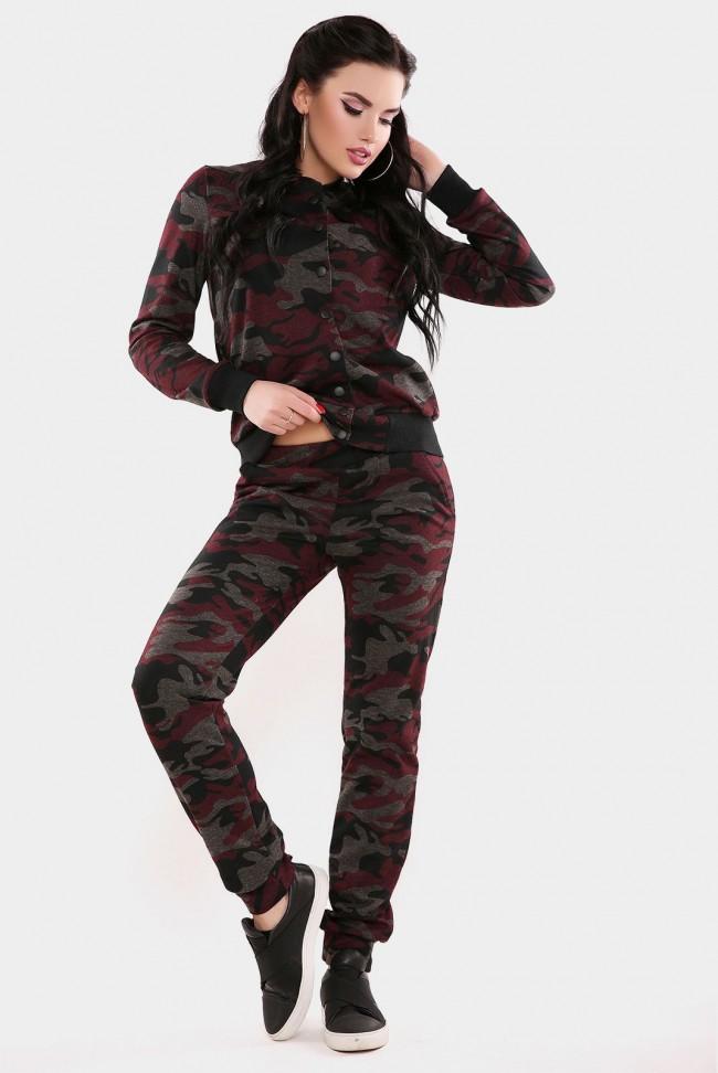 """Женский камуфляжный костюм """"Militaire"""", цвет бордовый с черным"""