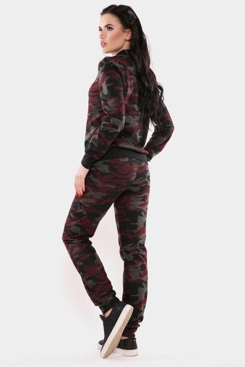 """Женский камуфляжный костюм """"Militaire"""", цвет бордовый с черным (фото 2)"""