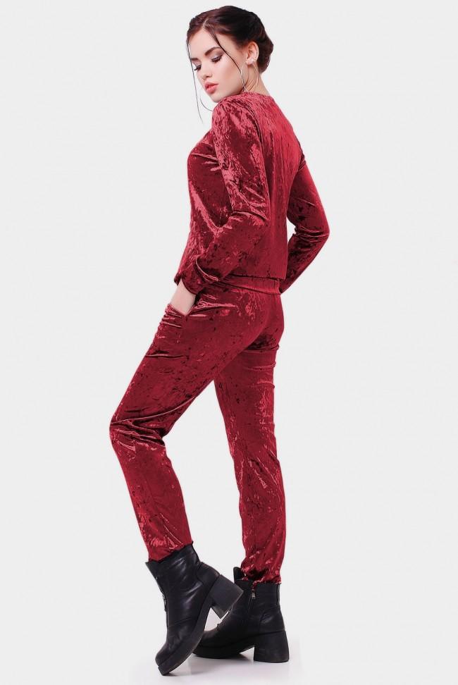 """Красный велюровый костюм """"Vivien"""" SK-1569E"""