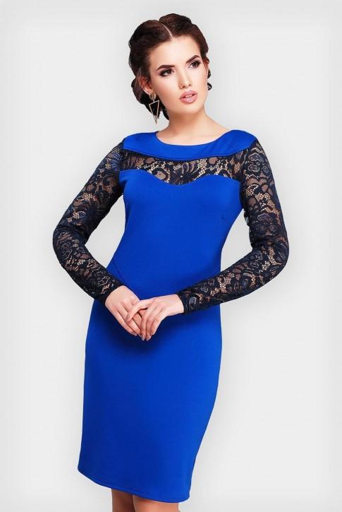 Элегантное синее платье с вставками из кружев