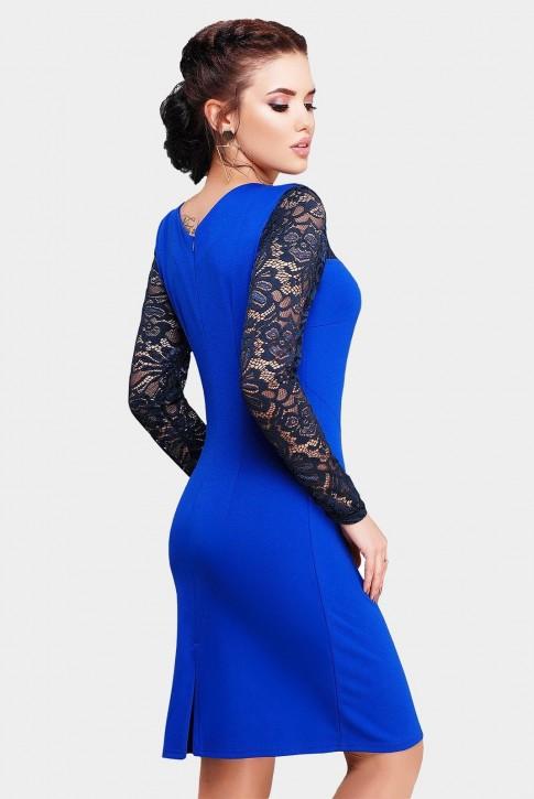 Элегантное синее платье с вставками из кружев (фото 2)