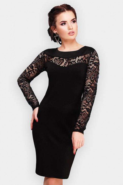 Черное платье Valerie с кружевными рукавами