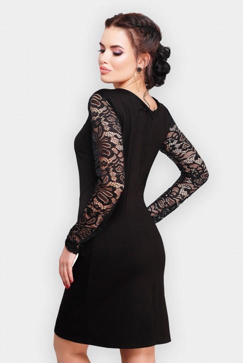 Черное платье Valerie с кружевными рукавами (фото 2)
