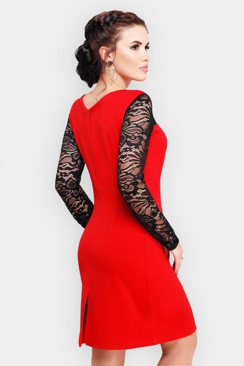 Вечернее платье красного цвете с вставками из гипюра (фото 2)