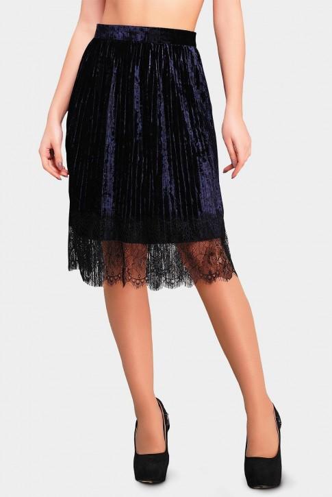 Велюровая юбка Nikki с кружевом темно синего цвета