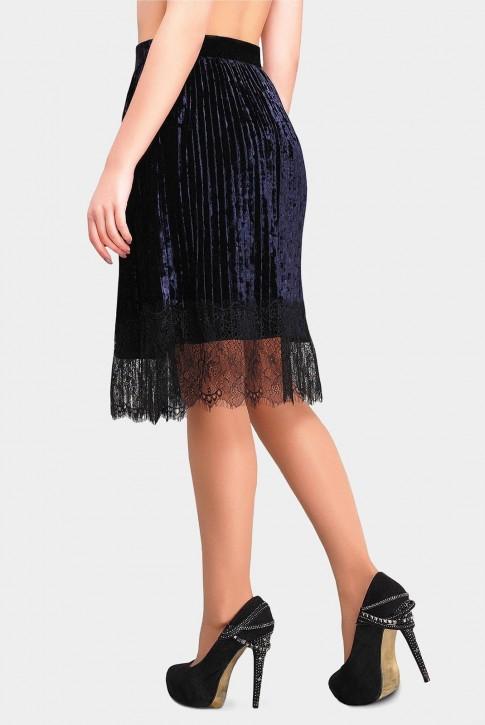 Велюровая юбка Nikki с кружевом темно синего цвета (фото 2)