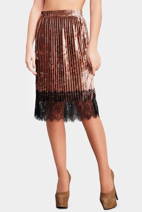 Стильная юбка золотого цвета из велюра