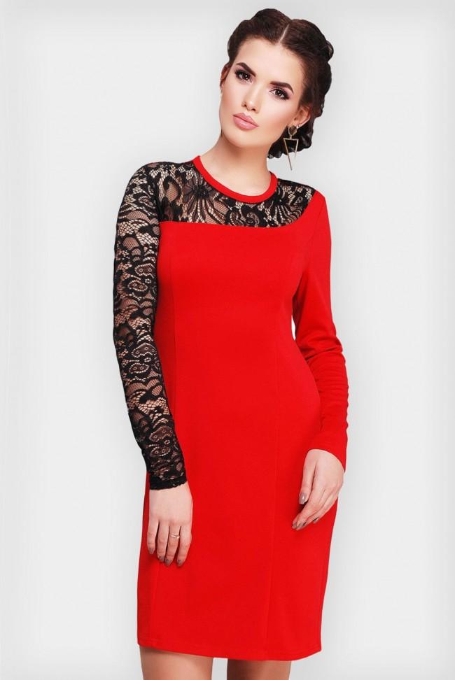 Красное платье из джерси с черным кружевом