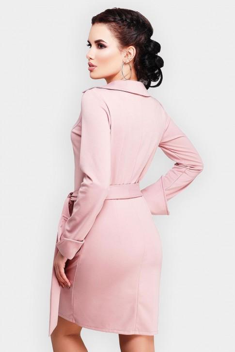 Укороченное платье пудрового цвета с поясом (фото 2)