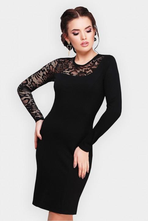"""Черное платье """"Chantal"""" с кружевным верхом"""