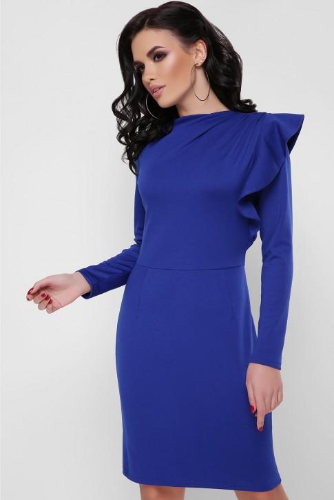 Платье с пышной рюшей на плече, электрик PL-1668A