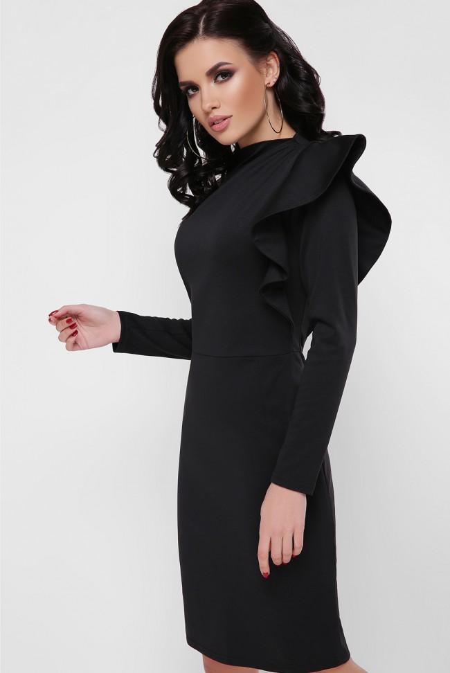 Платье с пышной рюшей на плече, черное PL-1668B