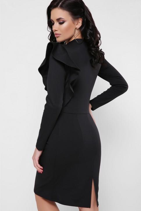 Платье с пышной рюшей на плече, черное PL-1668B (фото 2)