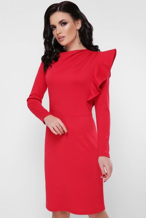 Платье с пышной рюшей на плече, красное PL-1668C
