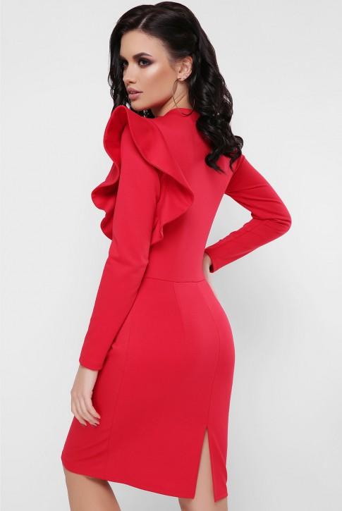 Платье с пышной рюшей на плече, красное PL-1668C (фото 2)