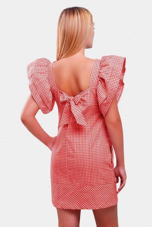 Красное платье в клетку с короткими рукавами-воланами. PL-1347D (фото 2)