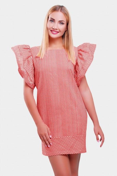 Красное платье в клетку с короткими рукавами-воланами. PL-1347D