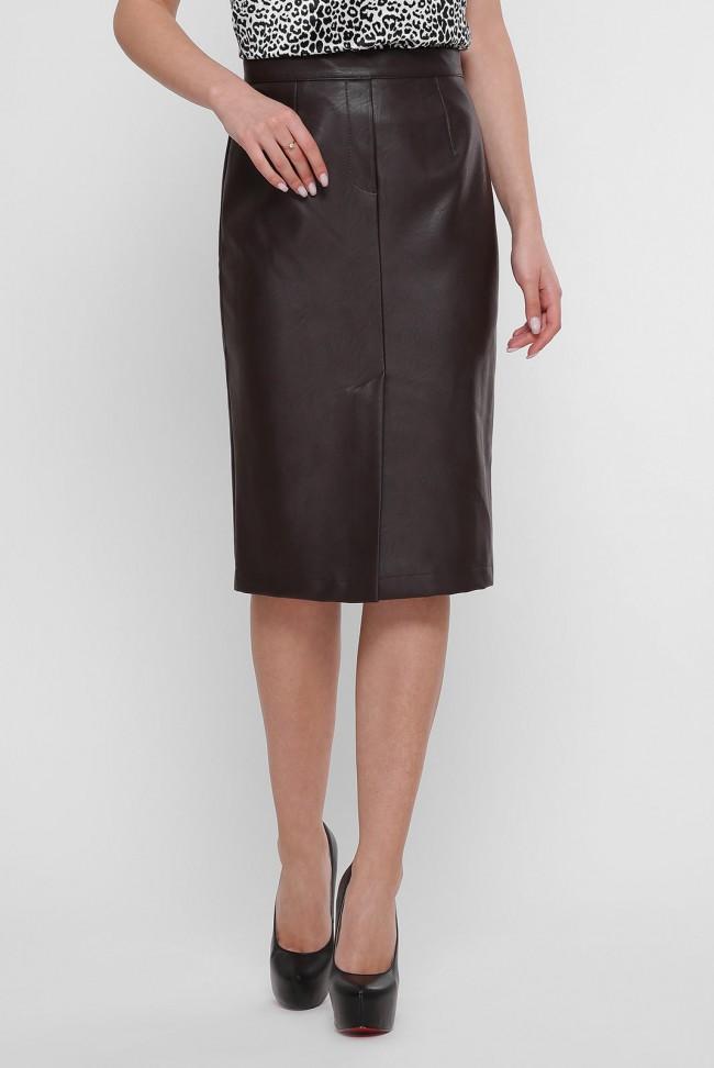 Прямая кожаная юбка цвета темный шоколад YUB-1050D