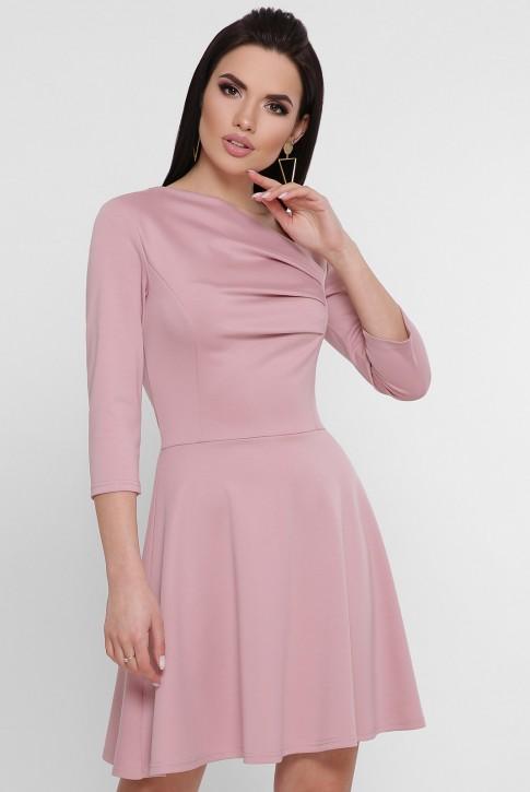 Пудровое платье с ассиметричной драпировкой PL-1751A