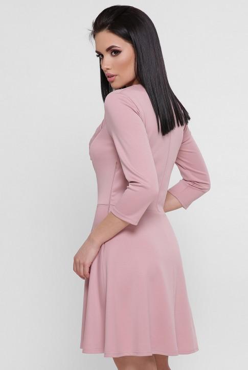 Пудровое платье с ассиметричной драпировкой PL-1751A (фото 2)