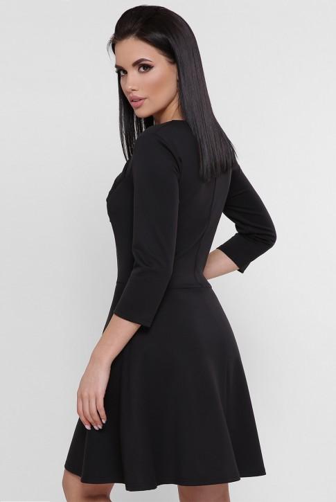 Короткое черное платье с драпировкой из джерси PL-1751B (фото 2)