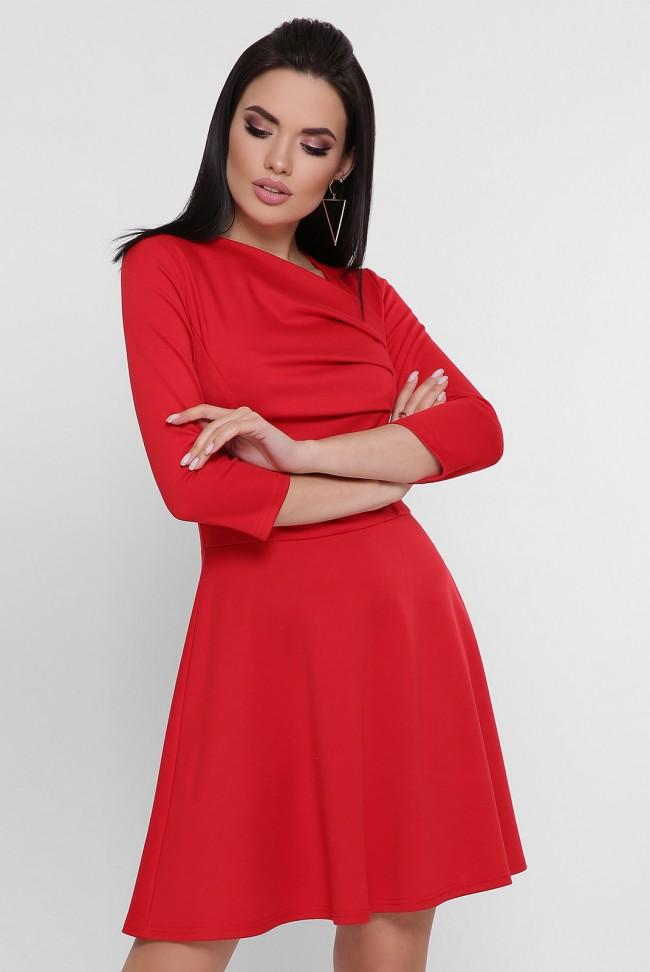 Короткое вечернее платье красного цвета. PL-1751C