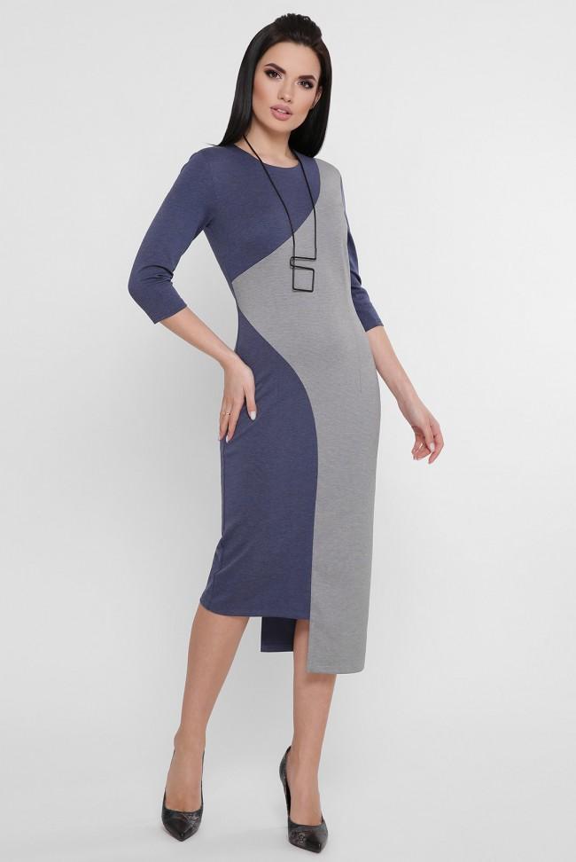 Комбинированное платье с ассиметричным низом джинсового цвета. PL-1753A
