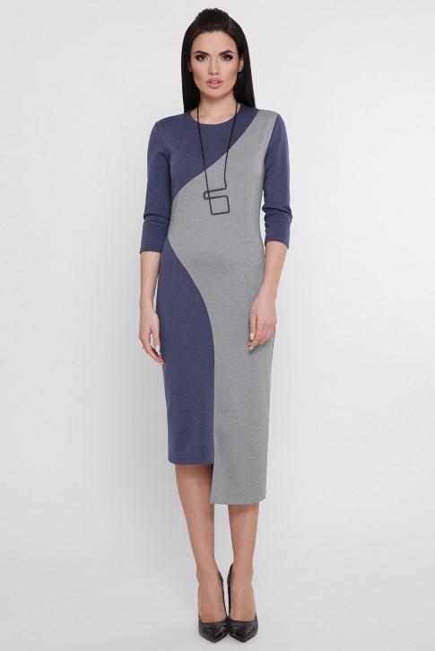 Комбинированное платье с ассиметричным низом джинсового цвета. PL-1753A (фото 2)