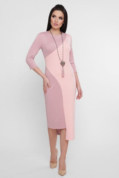 Комбинированное персиковое платье с ассиметричным низом. PL-1753B