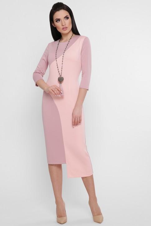 Комбинированное персиковое платье с ассиметричным низом. PL-1753B (фото 2)