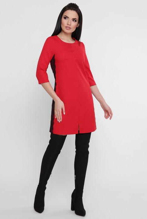 Короткое красное платье с черным гипюром. PL-1756A (фото 2)