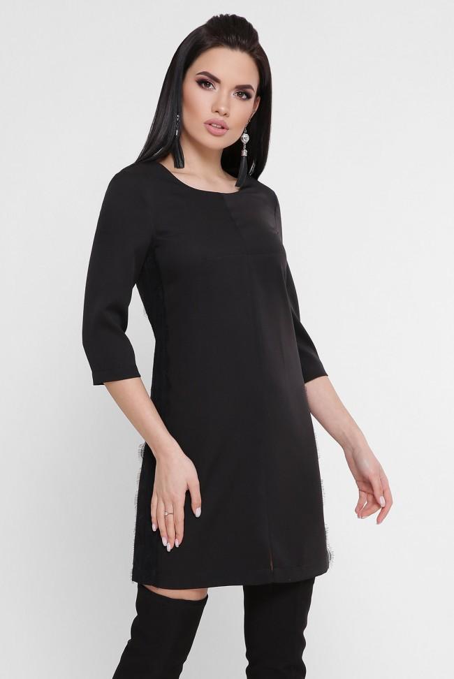 Короткое черное платье с лампасами. PL-1756C