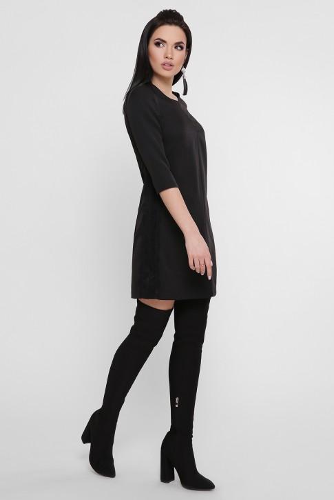 Короткое черное платье с лампасами. PL-1756C (фото 2)