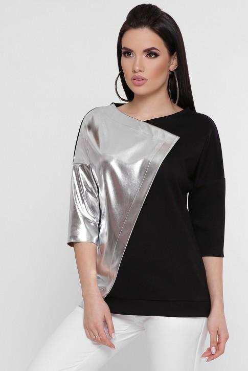 Черная кофта комбинированная кожей серебряного цвета. KF-1757B