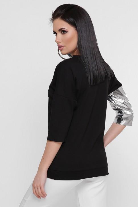 Черная кофта комбинированная кожей серебряного цвета. KF-1757B (фото 2)