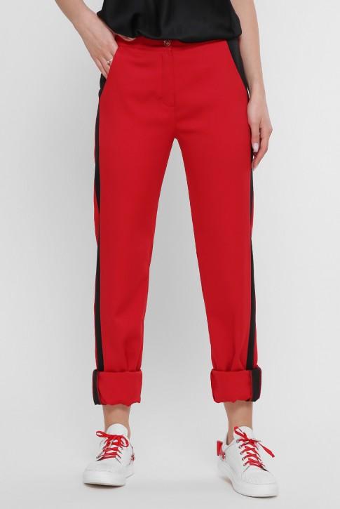 Красные женские брюки с черными лампасами. SHT-1759B