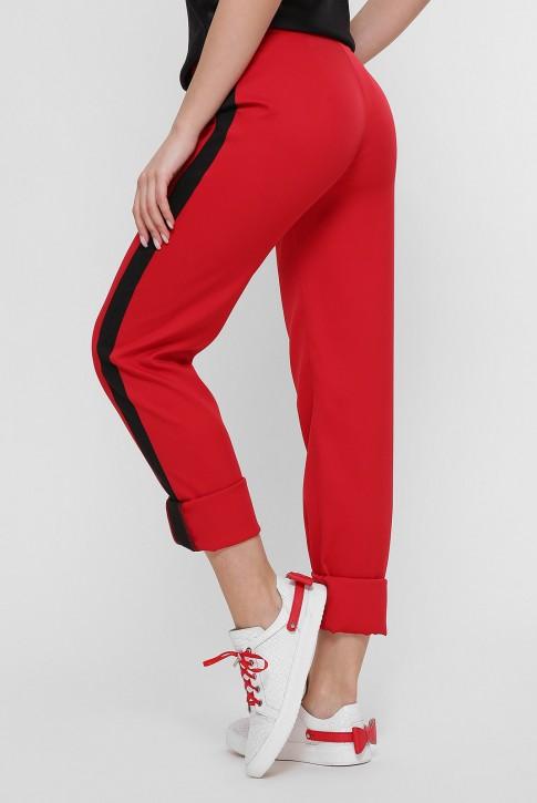 Красные женские брюки с черными лампасами. SHT-1759B (фото 2)