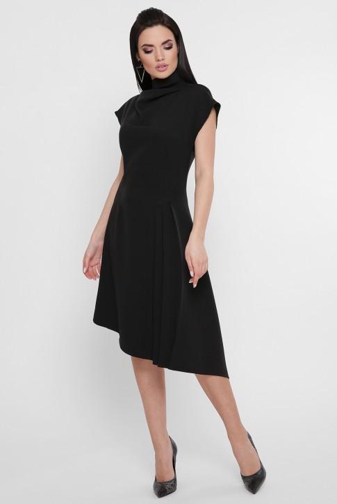 Черное асимметричное платье присборенное сбоку. PL-1758B